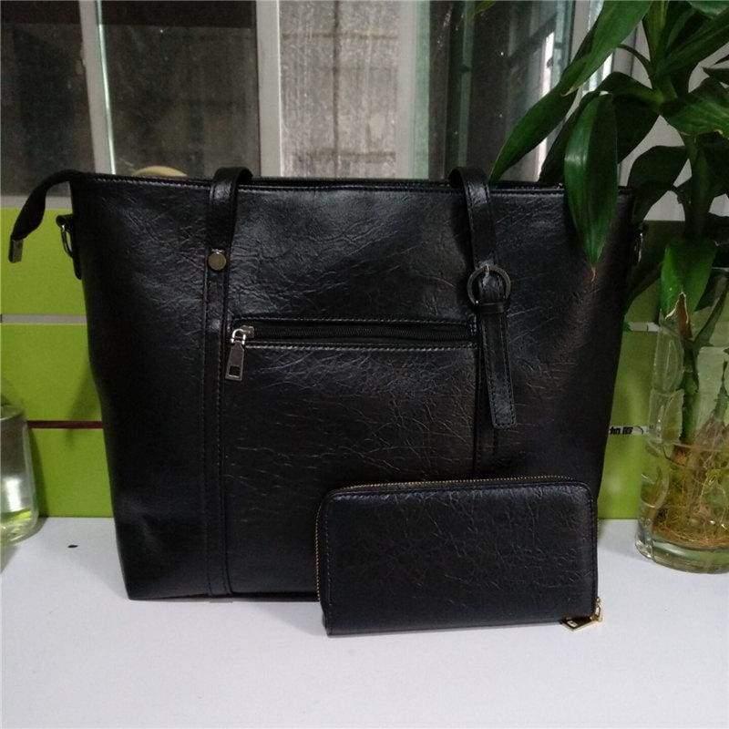 Large Shoulder Bag Ladies - Black - Top-Handle Bags