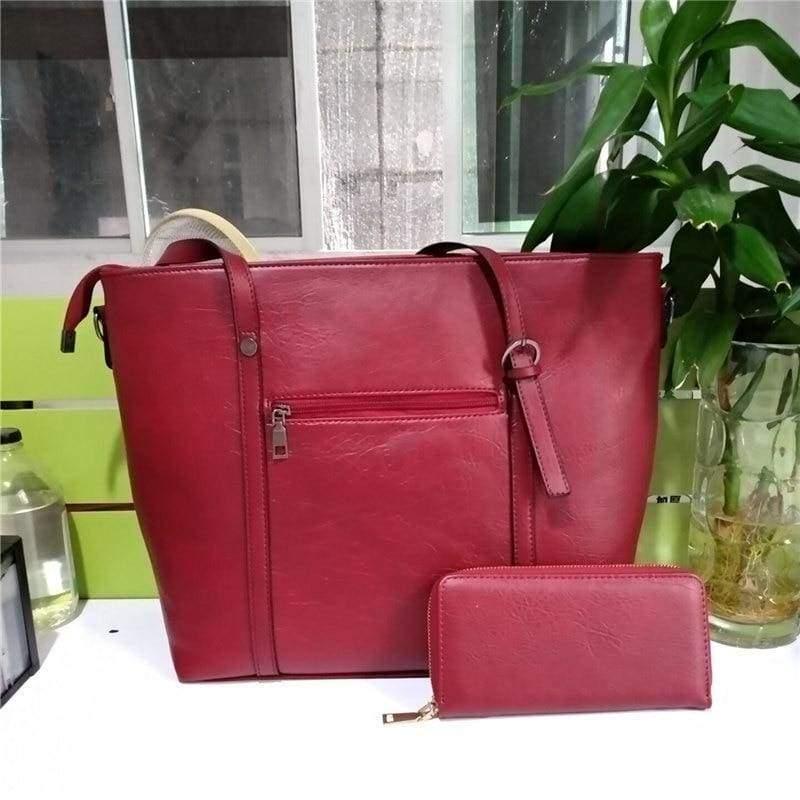 Large Shoulder Bag Ladies - Red - Top-Handle Bags