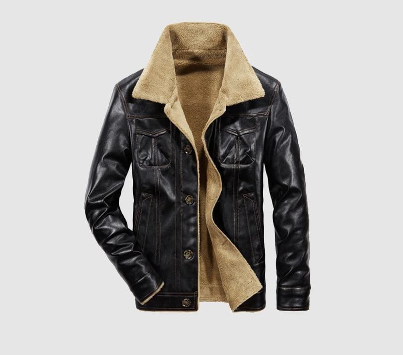 Leather jacket fur lined - Black / L - Faux Leather Coats