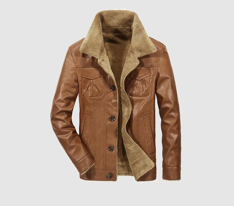 Leather jacket fur lined - Camel / L - Faux Leather Coats