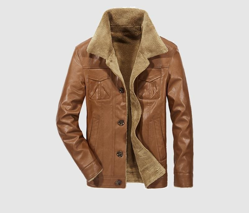 Leather jacket fur lined - Faux Leather Coats