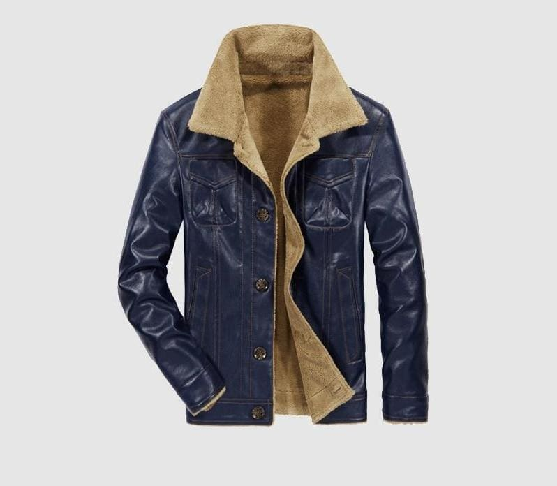 Leather jacket fur lined - Navy Blue / L - Faux Leather Coats
