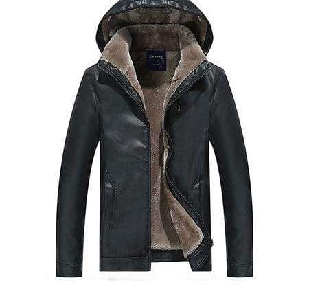 Leather Jackets Fur Hooded - Black / L - Faux Leather Coats