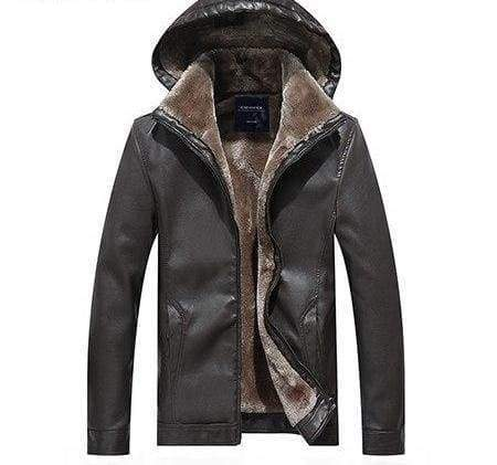 Leather Jackets Fur Hooded - Grey / L - Faux Leather Coats