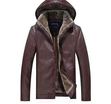 Leather Jackets Fur Hooded - Red / L - Faux Leather Coats