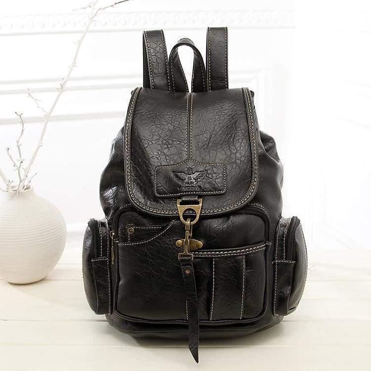 Leather vintage backpacks - Black - Backpacks