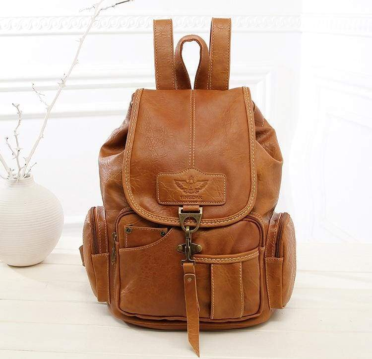 Leather vintage backpacks - brown - Backpacks