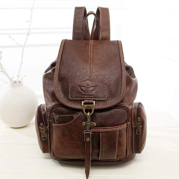 Leather vintage backpacks - dark brown - Backpacks