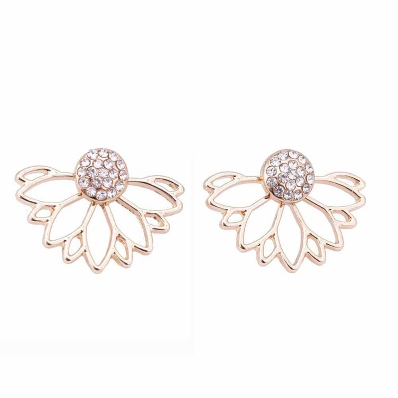 Lotus Crystal Flower Stud Earrings - Gold 1 - Stud Earrings