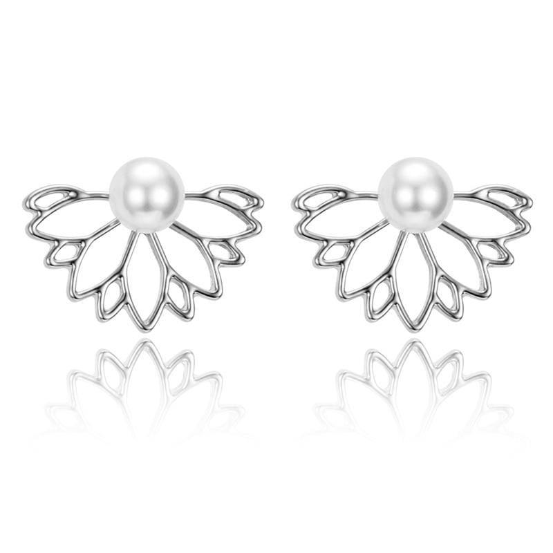 Lotus Crystal Flower Stud Earrings - Silver 4 - Stud Earrings