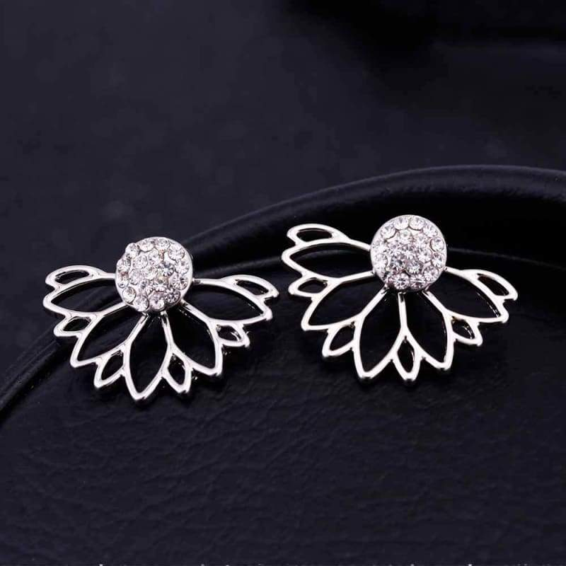 Lotus Crystal Flower Stud Earrings - Stud Earrings
