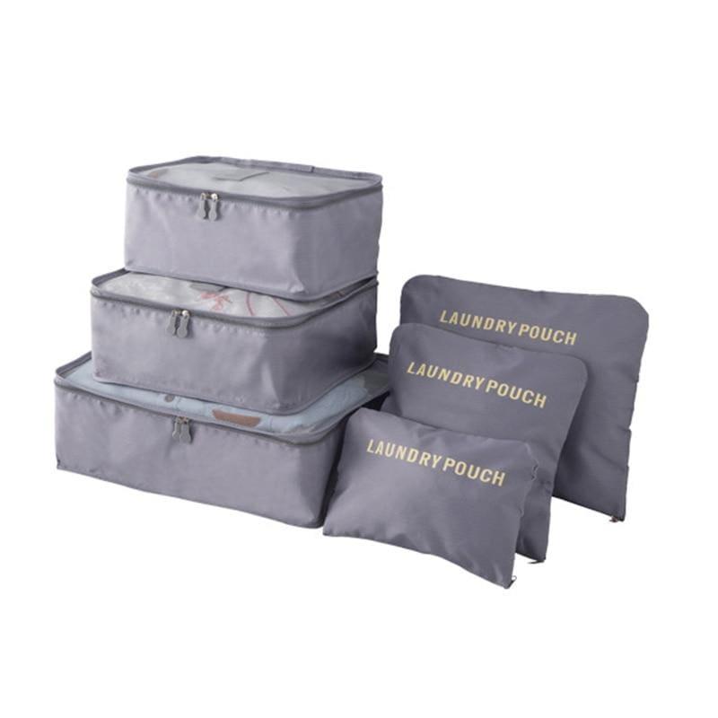 Luggage Packing Organizer Set - Gray - Storage Bags