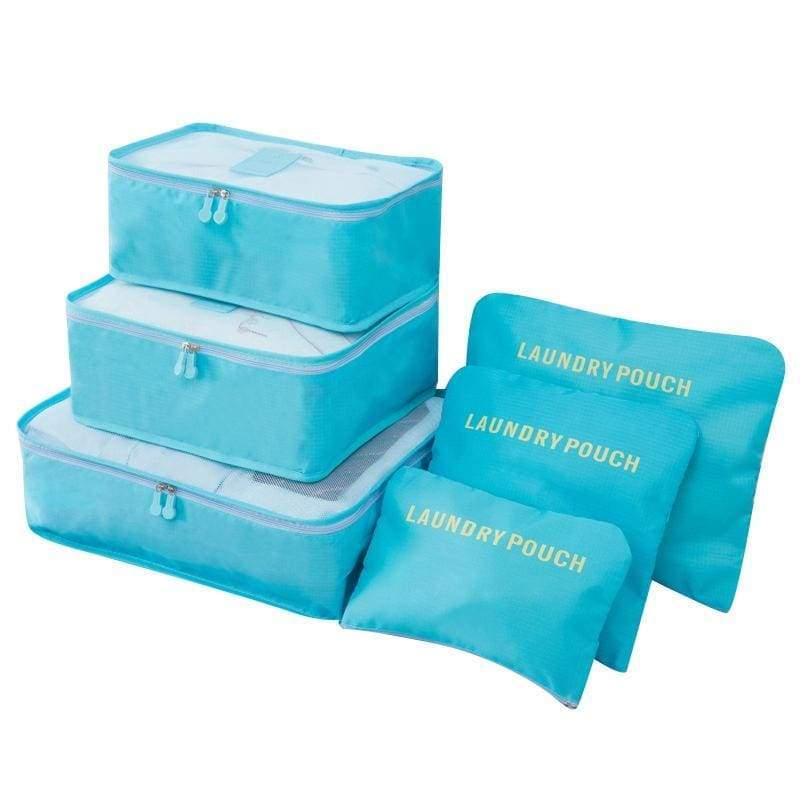 Luggage Packing Organizer Set - Light Blue - Storage Bags