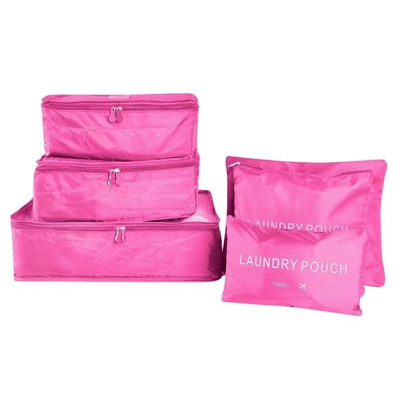 Luggage Packing Organizer Set - Rose Red - Storage Bags