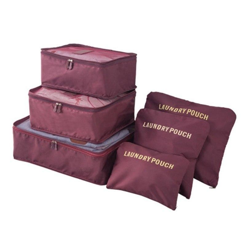 Luggage Packing Organizer Set - Wine Red - Storage Bags