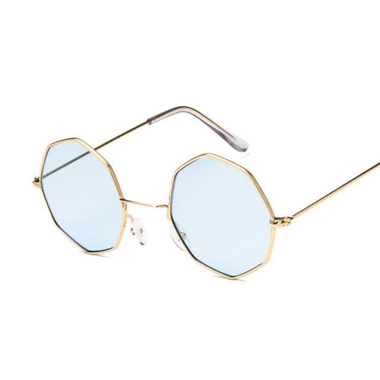 Luxury Octagon Sunglasses - Gold Blue - Sunglasses