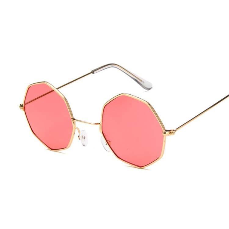 Luxury Octagon Sunglasses - Gold Red - Sunglasses