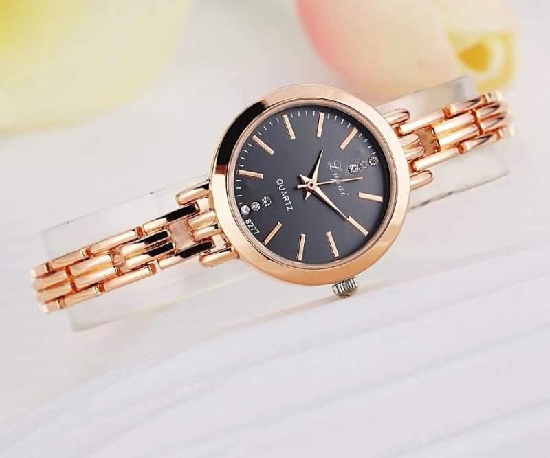 Luxury Women Bracelet Watches - Rose Gold Black - Womens Watches