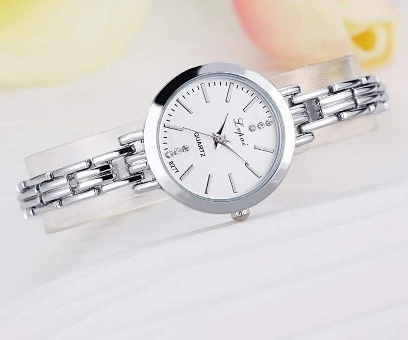 Luxury Women Bracelet Watches - Silver White - Womens Watches