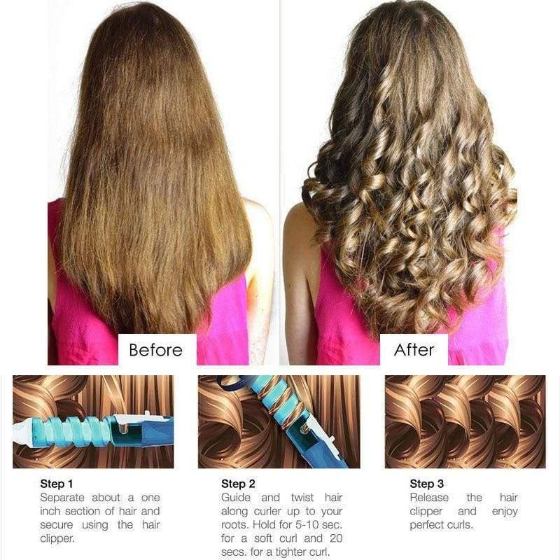 Magic Ceramic Spiral Hair Curling Iron Wand - Hair Rollers