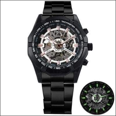 Mechanical watch luxury - BLACK CASE WHITE - Mechanical Watches