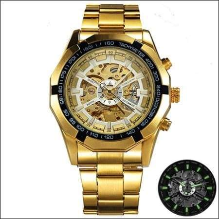 Mechanical watch luxury - GOLDEN BLACK WHITE - Mechanical Watches