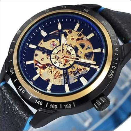 Mechanical watch luxury - NEW LEATHER BLK BLUE - Mechanical Watches