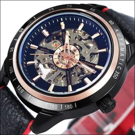 Mechanical watch luxury - NEW LEATHER BLK RED - Mechanical Watches