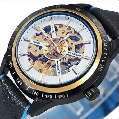 Mechanical watch luxury - NEW LEATHER WHT BLUE - Mechanical Watches