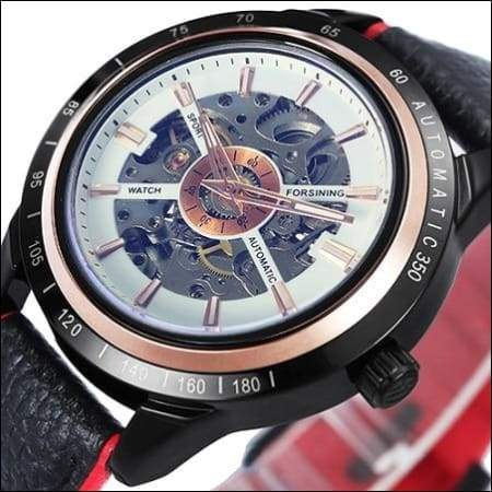 Mechanical watch luxury - NEW LEATHER WHT RED - Mechanical Watches