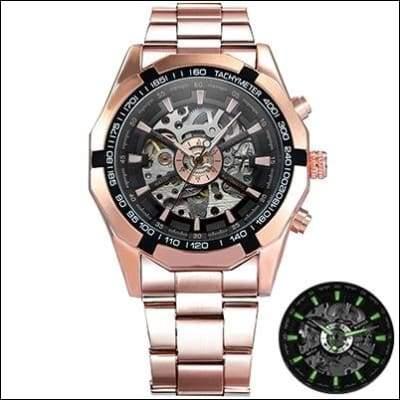 Mechanical watch luxury - ROSE GOLDEN BLACK - Mechanical Watches