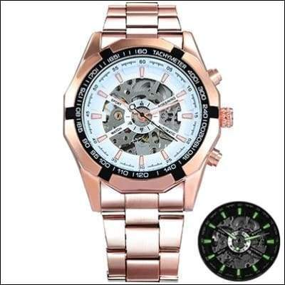 Mechanical watch luxury - ROSE GOLDEN WHITE - Mechanical Watches