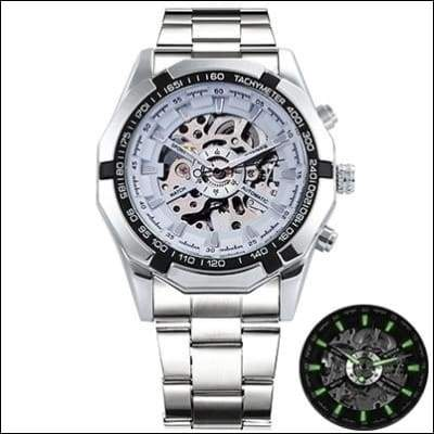 Mechanical watch luxury - SILVER CASE WHITE - Mechanical Watches