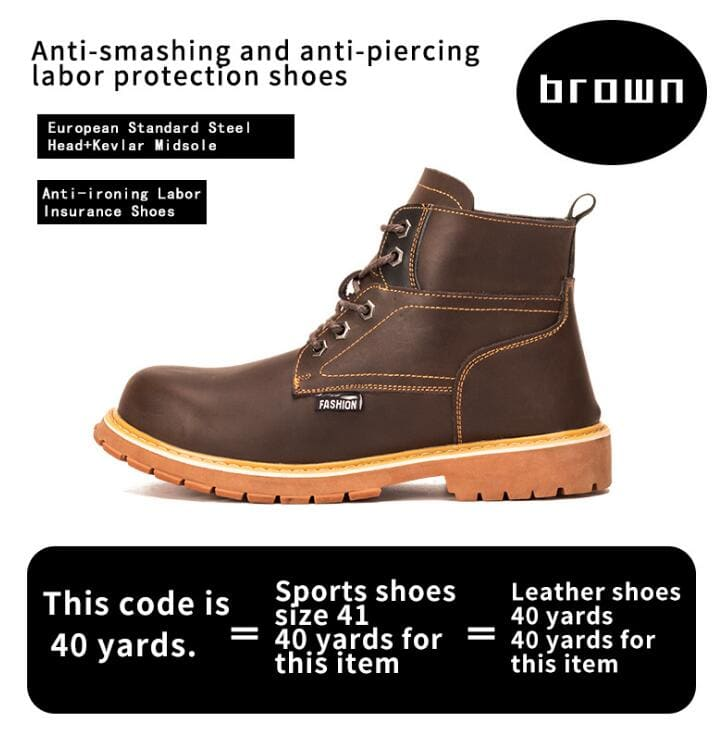 Mens Casual Boots Winter Work Safety Boots shoes - Brown / 37 - Winter Boots
