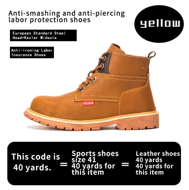 Mens Casual Boots Winter Work Safety Boots shoes - yellow / 37 - Winter Boots