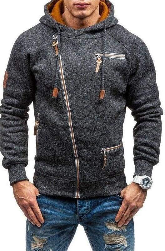 Men zipper hoodie Just For You - Black Gray / L - Hoodies & Sweatshirts