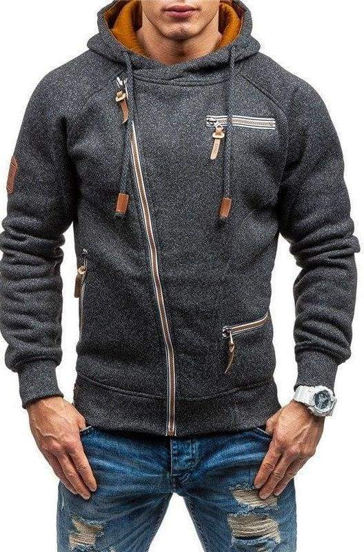 Men zipper hoodie Just For You - Black Gray / L - Hoodies & Sweatshirts