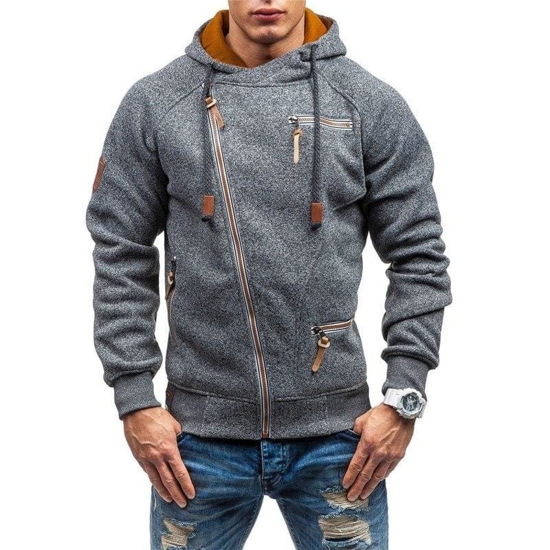 Men zipper hoodie Just For You - Dark Gray / L - Hoodies & Sweatshirts