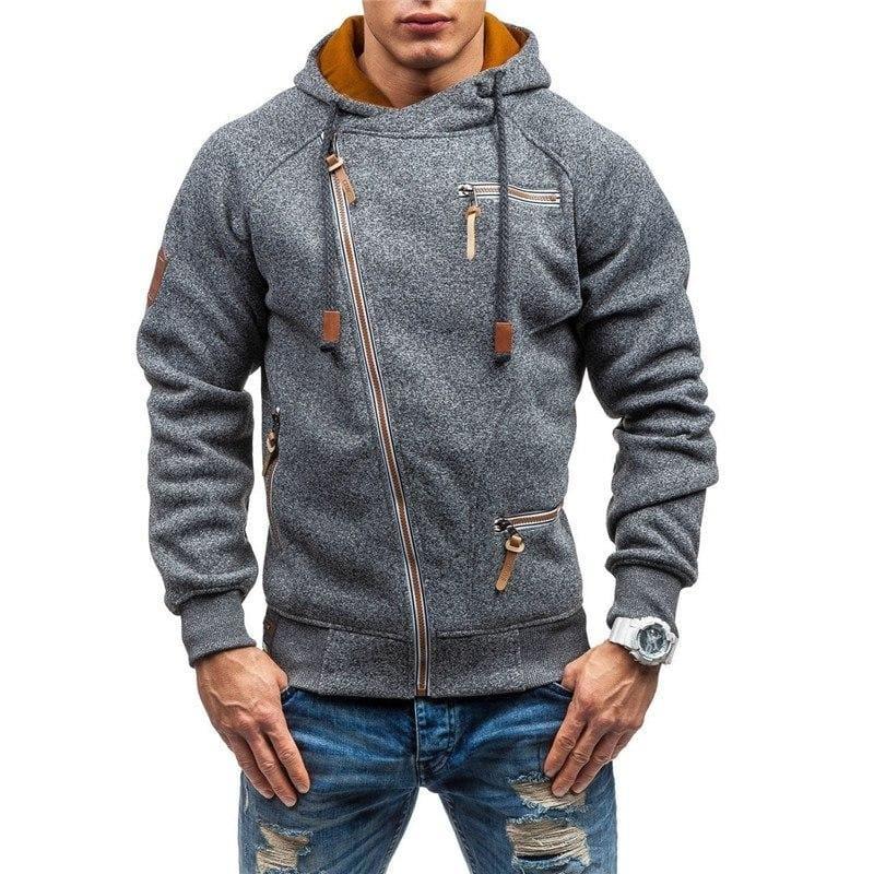 Men zipper hoodie Just For You - Dark Gray / L - Hoodies & Sweatshirts