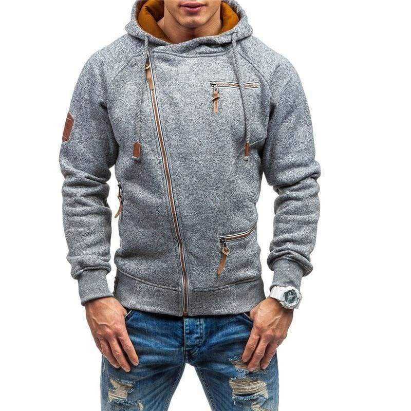 Men zipper hoodie Just For You - Lt Gray / L - Hoodies & Sweatshirts