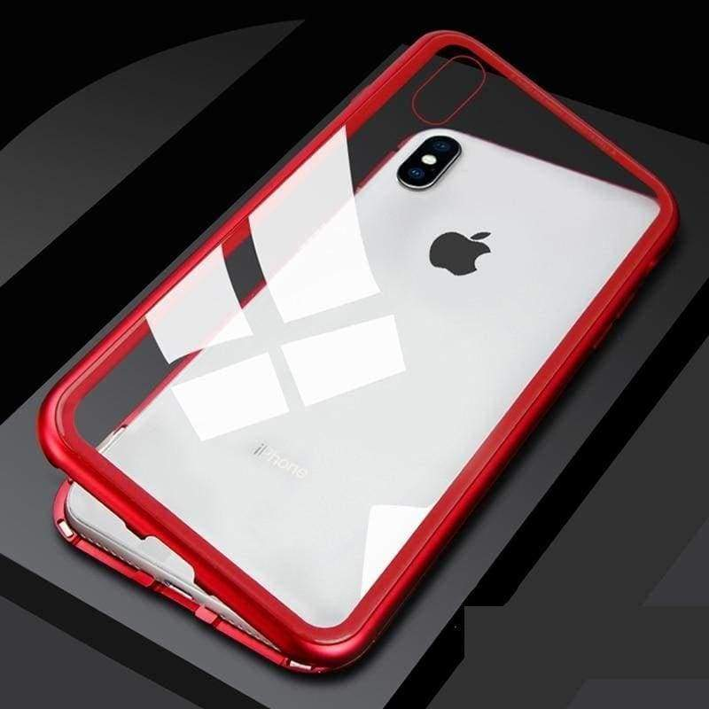 Metal Magnetic Case for iPhone & Samsung - Clear Red / For Samsung Note 8 / With Front Glass - Fitted Cases