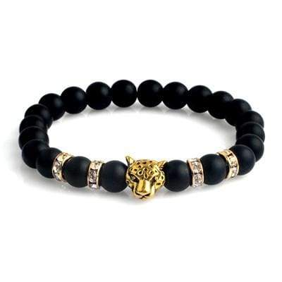 Natural Stone Leopard Bracelet For Men - B020096 - Strand Bracelets
