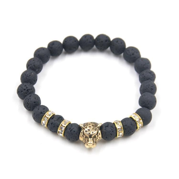 Natural Stone Leopard Bracelet For Men - B020097 - Strand Bracelets