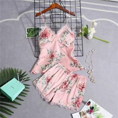 Nightie Sleepwear Lace Pajama Just For You - pink 2pcs / M - Women Clothing