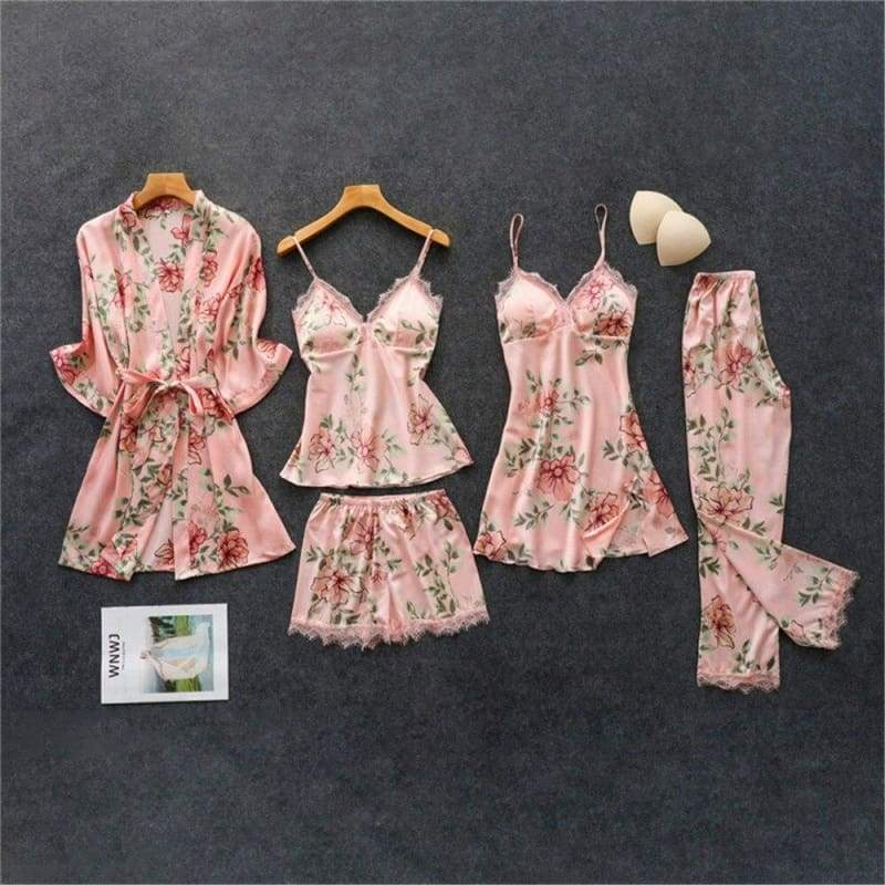 Nightie Sleepwear Lace Pajama Just For You - pink 5pcs / M - Women Clothing