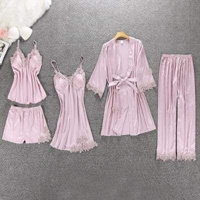 Nightie Sleepwear Lace Pajama Just For You - pink floral 5pcs / M - Women Clothing