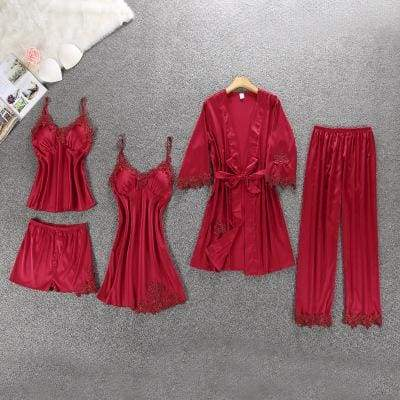 Nightie Sleepwear Lace Pajama Just For You - wine red flroal 5pcs / M - Women Clothing