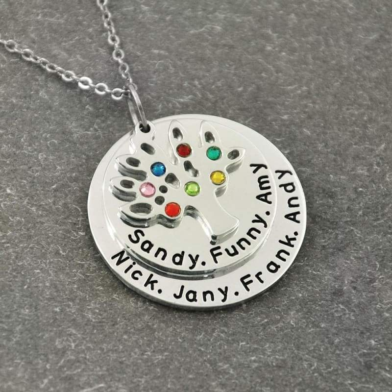 Personalized Family Tree Pendant Necklace with Birthstones. - Pendants