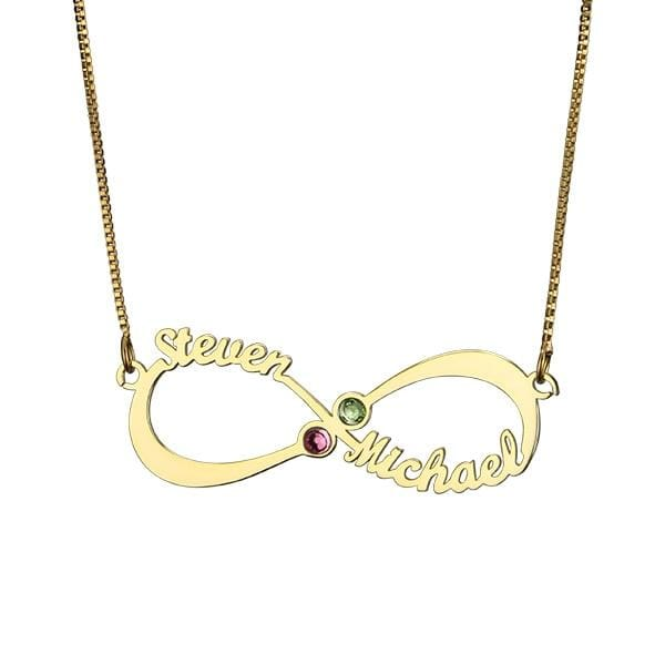 Personalized Infinity Necklace with double Names and Birthstones - 18k gold plated / 45cm - Pendant Necklaces