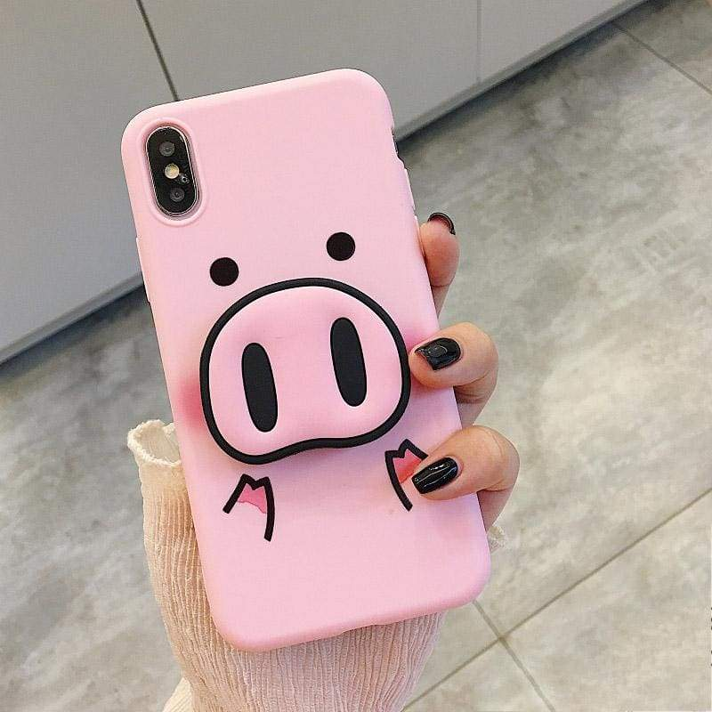 Pig case for iPhone with holder - pink / For iphone6 6s - Fitted Cases